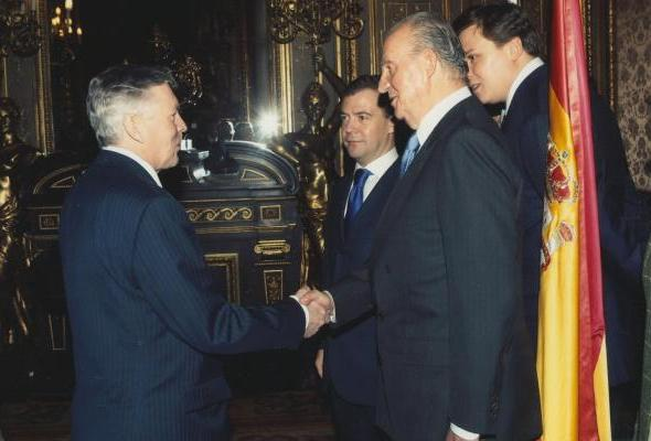 With King Juan Carlos of Spain, during the visit of Russian President Dmitry Medvedev to Spain (Days of Russia in Spain, the Assembly of Rectors of Russian and Spanish Universities)