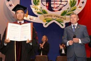 With the Director-General of UNESCO in 1999-2009, the Honorary Doctor of the PFUR, Koichiro Matsuura
