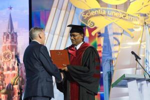 Awarding the title of Honorary Doctor of the RUDN to the graduate of the PFUR, President of the Cooperative Republic Guyana Bharat Jagdeo, 2010
